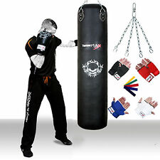 TurnerMAX Punch Bag Heavy Filled COWHIDE LEATHER Kick Boxing Training Gloves MMA