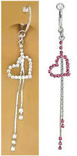 Fake Belly Navel Non Clip on Piercing Cz or Pink Long Heart Dangle Ring
