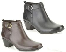 LADIES CLARKS BLACK, BROWN LEATHER ZIP UP WIDE FIT ANKLE BOOTS MALIA HAWTHORN