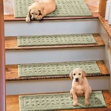 Set of 4 New Basketweave Washable Indoor Stair Tread Rugs in Various Colors!