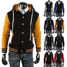 Mens College Baseball Sport Football Jacket Varsity Letterman Hooded Coat Hoodie