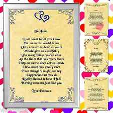 PERSONALISED I LOVE YOU VALENTINES POEM Valentines present for him or her gift