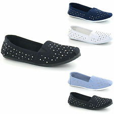 NEW WOMENS STUDDED CANVAS PUMPS LADIES CASUAL SLIPPER SHOES ESPADRILLES SIZE 3-8