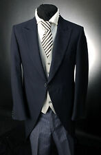 MJ-89 MENS NAVY THREE PEICE HERRINGBONE WOOL / FORMAL / WEDDING / MORNING SUIT