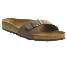Womens Birkenstock Madrid 1 Bar Mule Mocha Nubuck Sandals