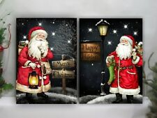 Lighted Santa Claus Picture on Canvas with Led Lights Wall Art Christmas Decor