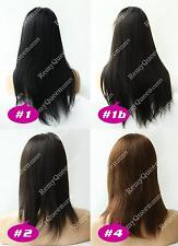 """Popular Malaysian Soft Yaki Straight Human Hair Lace Front Wig 10""""-22"""" 4 Colors"""