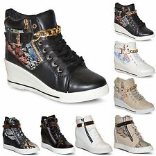 WOMENS LADIES PLATFORM CHUNKY HEEL WEDGE NEW HIGH TOP ANKLE TRAINERS BOOTS SIZE