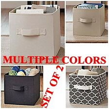 Storage Bin Set/2pcs Collapsible Box Organizer Container Fabric Multiple Color