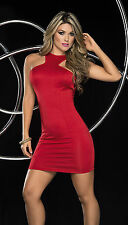 Red Cowl Back Mini Dress Valentine's Red Dress Christmas Red Dress Espiral 4314