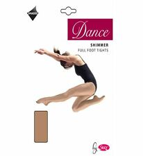 Ladies Adult Silky Full Foot Shimmer Dance Tights Ballet Toast Light Toast
