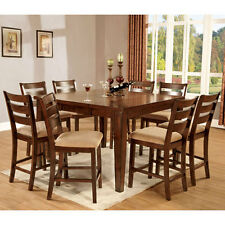 Priscilla Mission Style Antique Oak Finish Counter Height Dining Table Set