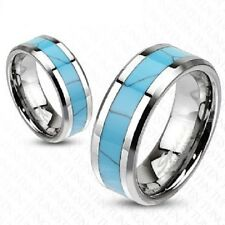Tungsten Carbide Unisex Band with Turquoise Inlay Size 5-14