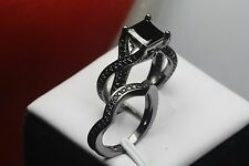 PRINCESS CUT BLACK GOTH STERLING SILVER 925 ENGAGEMENT RING WEDDING RING SET