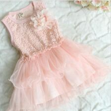 New Baby Girls Lace Chiffon Dress Toddler Kids Pink Yellow Sleeveless Dress