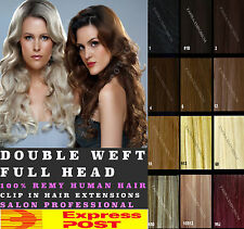 FULL HEAD DOUBLE WEFTED CLIP IN REMY HUMAN HAIR EXTENSIONS ★BLONDE★BROWN★BLACK