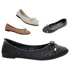 Womens Flats Comfort Shoes Ballet Slippers Slip On Faux Leather New Ballerina Sz
