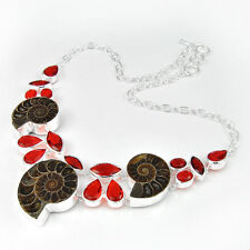 Mother's Day Gift Natural Ammonite Fossil Garnet Gems Sterling Silver Necklace