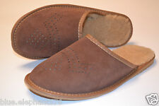 Mens Suede Leather Slippers Shoes Sandals Brown Made In Poland Wool Warm Soft