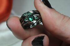Green and Black Sterling Silver 925 Nickel Free Sapphire Engagement Wedding Ring