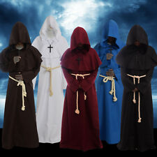 Medieval Friar Hooded Robe Monk Cowl Cross Necklace Renaisance Cosplay Costume