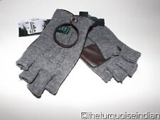 New RALPH LAUREN Gray Fingerless Gloves Leather Palm $38 Retail Tag