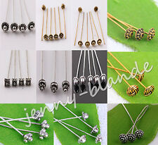 Wholesale Silver Golden Plated Metal Head/Crown/Ball Pins Jewelry Finding 50mm