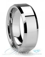 8mm High Polish Beveled Edges Tungsten Carbide Ring Wedding Band Size 7 to 14.5