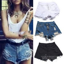 Summer Women Fashion Denim Button High Waist Shorts Jeans Ripped Hole Shorts