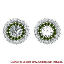 Green & White Diamond Double Halo Solitaire Stud Earring Jackets 14K White Gold