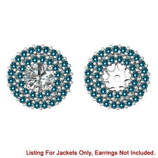 Blue Diamond Double Halo Solitaire Stud Bridal Earrings Jackets 14K White Gold