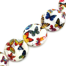 Wholesale Jewelry Shell Loose Beads Butterfly Pattern Round Multicolor 23-25mm