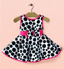 Princess Baby Kids Girls Milk Cow Dot Bow Party One-pieces Gown Dresses 0-5Y