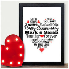 PERSONALISED First 1st Paper Wedding Anniversary Gift 1st ANNIVERSARY Print