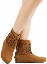 TAN SUEDE BRAID STUDDED ROUND TOE FRINGE MOCCASIN FLAT WOMEN ANKLE BOOTS BOOTIES