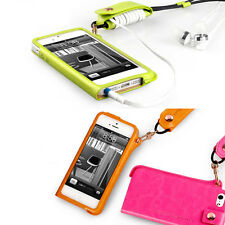 For iPhone 5/5S Fashion Ultra Slim Case with Neck Strap by Synthetic Leather