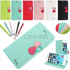 Luxury CHERRY Leather Card Wallet Cute Flip Case Cover For APPLE iPhone Models