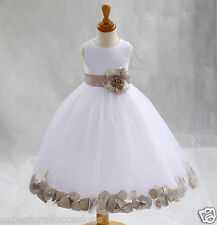 WHITE FLOWER GIRL DRESS PAGEANT WEDDING BRIDESMAID DANCE PARTY 12-18M 2 4 6 8 10