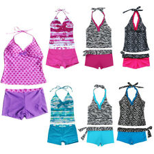 Girls Kids Halter Tankini Swimwear Bikini Swimsuit Swimming Costume Age 5-16Yrs
