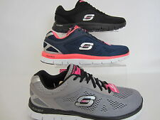 Skechers Flex Appeal 11728 Ladies Trainers Black, Grey or Navy Memory Foam (GO)