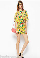 NEW ASOS YELLOW GREEN PINK FLORAL SUMMER PLAYSUIT JUMPSUIT ALL IN ONE SIZE 8-16