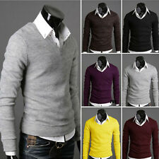 Warm Mens Slim Fit Premium Stylish V-neck Sweater Jumper Tops Cardigan wemzssw