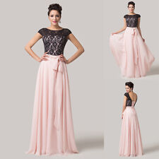 PLUS SIZE Long Lace Prom Dresses Formal Wedding Bridesmaid Evening Party Gowns