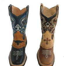 children youth sizes cowboy boots leather square toe rodeo boys western best $$