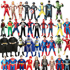 Superhero Boys Fancy Dress DC Marvel Comic Book Hero Kids Childrens Costumes New