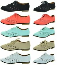FREE SHIPPING New LEMIU TYPER Women's Casual Cut-Out Lace Up Oxford Flats Shoes