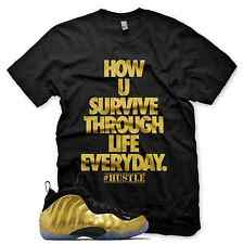 New Metallic Gold HUSTLE T Shirt Inspired By Nike Gold Foamposite Obsidian Pro