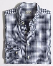 J. CREW Men's FACTORY SLIM WASHED Button-Up GINGHAM OXFORD Navy Blue SHIRT M / L
