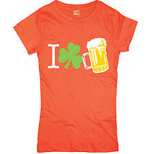 I Shamrock Love Beer Funny Drinking Saint Patrick's Day Irish Funny Womens Top