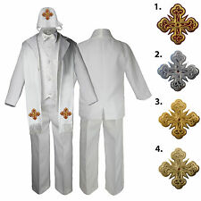 5-7pc White Baby Kid Boy Handkerchief Paisley Formal Tuxedo Suit Cross Hat Stole